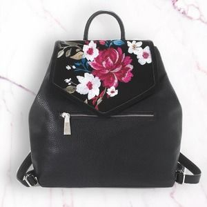WHBM Suede Floral Embroidered Pebbled Backpack